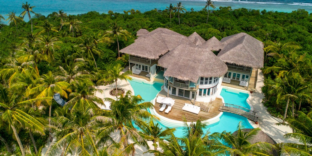Aerial view of 4 Bedroom Island Reserve with Slide - soneva jani